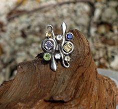 Large Snake Statement Ring, Unusual Multistone Cocktail Ring, Serpent Ring, Gypsy Ring, Amethyst, Peridot, Moonstone, Citrine, Size 8.25 by GypsyTraderTreasure on Etsy