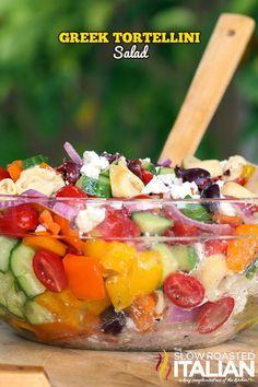Greek Tortellini Salad - loaded with fresh veggies and tortellini pasta. #salad #pasta #greek @SlowRoasted