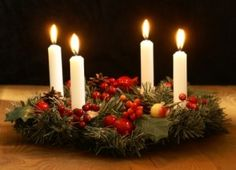 advent-wreath Scott likes the green with red accent and white candles Christmas In Germany, Old World Christmas, Country Christmas, Winter Christmas, Christmas Time, Christmas Advent Wreath, Christmas Decorations, German Christmas Traditions, White Candles