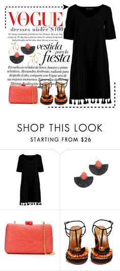 """""""Dress Under $100"""" by conch-lady ❤ liked on Polyvore featuring Boohoo, Kate Spade, Serpui, Aquazzura, Fiesta, under100 and dressunder100"""