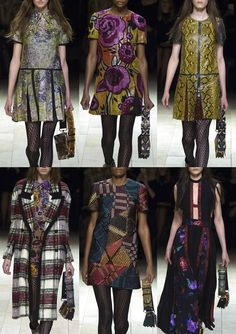 03-burberry-aw1617 - 70's Swirly Pattern – Oversized 70's Floral – Python Skin Prints – Glam Rock Style – Soft Plaid Tartans – Luxe and Lustre – Abstract Geometric Tiles – Stylised 70's Lustred Florals