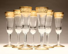 St. Louis 'Thistle Gold' gilt clear glass champagne flutes