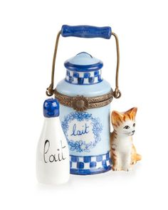 Rochard Limoges Cat with Milk Jug and Bottle Box