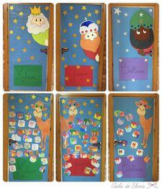 Decoración Navidad puerta de las clases: Los Reyes Magos Melchor, Gaspar y Baltasar y sus camellos. En el Aula de Elena.