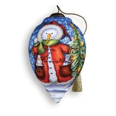 "5.75"" Ne'Qwa ""Meadow Friends"" Hand-Painted Blown Glass Christmas Ornament #331  Ne'Qwa Meadow Friends Teardrop Ornament  Item #331  This beautiful, hand-made ornament is oversized and features a snowman wearing a Santa suit, with little snowmen coming out the pockets. Also features the artists signature and an antiqued gold topper and tassel  Artist - Michelle Palmer"