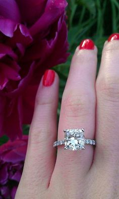 2+ carat cushion cut diamond engagement ring. Weddingbee.com #princesscutdiamondring