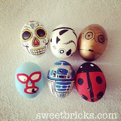 Hand painted easter eggs! Star wars, day of the dead, nacho libre! www.sweetbricks.com