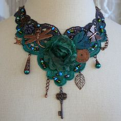 From the Gilded Dragonfly -CELTIC FOREST- ooak tattered lace steampunk fantasy choker. $67.00, via Etsy.