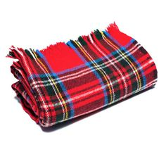 "Amana Woven at the Amana Woolen Mill since the 1800s, this classic Royal Stewart plaid blanket in red, white, royal, yellow and black, is still a favorite. 100% wool, 56"" x 72"". Dry clean only. Made i"