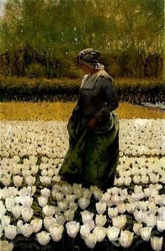 """""""Dutch Girl in a Field of Tulips,"""" George Hitchcock (1815 - 1930)"""