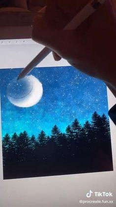 Night Sky Drawing, Drawing Sky, Night Sky Painting, Digital Painting Tutorials, Digital Art Tutorial, Art Tutorials, Sky Digital, Ipad Art, Cool Art Drawings