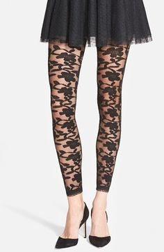 Women's Nordstrom Floral Pattern Sheer Footless Tights