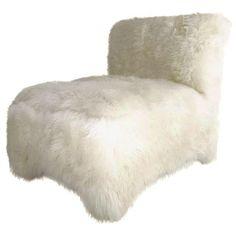 Image of Vintage Slipper Chair in Sheepskin Girl Cave, Man Cave, Slipper Chairs, Armchair, Interior Design, Queen Size, Apartment Ideas, Furniture, Vintage