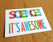 Science: it's awesome print  -- letterpress geekery. via Etsy.