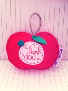 Thank you apple - great for end of school year gifts, £4. Designed and handmade by The Cutii Co. www.facebook/thecutiicompany  Copyright protected.