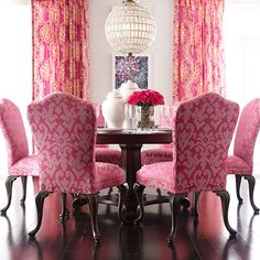 Tickled Pink Dining Room has attitude. Ethan Allen