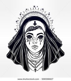 Artwork of a creepy Catholic nun with no eyes filled with tears. Beautiful evil witch. Mystic character. Alchemy, religion, spirituality, occultism, tattoo art. Isolated vector illustration.