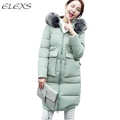 44.92$  Buy now - http://ali0x0.shopchina.info/go.php?t=32698225345 - Elexs Military Style Long Winter Jacket and Coat Women Parkas Big Fur Hooded Women Thick Padded Outwear TSP16704 44.92$ #bestbuy