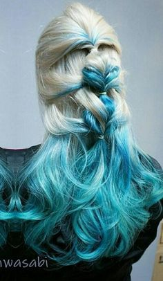 Blonde blue ombre dyed hair color @kimwasabi