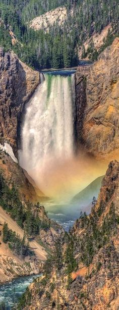 Rainbow Waterfall at Yellowstone National Park, Wyoming Beautiful Waterfalls, Beautiful Landscapes, Dream Vacations, Vacation Spots, Vacation Trips, Yellowstone National Park, National Parks, The Places Youll Go, Places To See