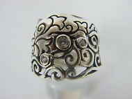 Modern SHABLOOL Handmade Sterling Silver 925 White white CZ Band Ring