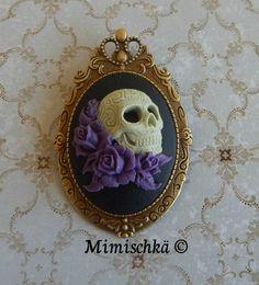 broche pendentif camée crâne mexicain sugar skull catrina gypsy : Broche par mimischka