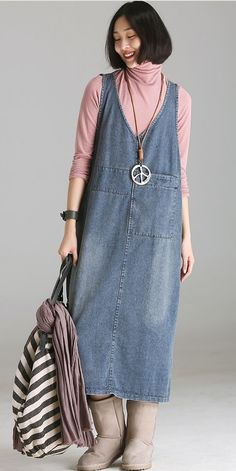 Most recent Free of Charge Vintage Blue Denim Strap Dresses Women Fall Outfits Tips Vintage Blue Denim Strap Dresses Women Fall Outfits Boho Fashion, Fashion Outfits, Womens Fashion, Dress Clothes For Women, Fall Skirts, Mode Style, Nice Dresses, Denim Dresses, Women's Dresses