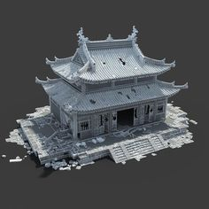 Maya Modeling, Surface Modeling, Game Environment, Environment Concept Art, Zbrush Environment, Chinese Architecture, Beautiful Architecture, Dojo, Cartoon Building
