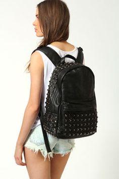 black studded bag from boohoo.com