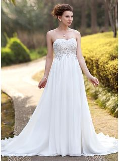 Empire Sweetheart Court Train Ruffle Lace Beading Zipper Up Strapless Sleeveless Garden / Outdoor General Plus No Spring Summer Ivory Chiffon Wedding Dress