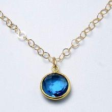 Blue Quartz & Goldfill Necklace - Jewel Ya