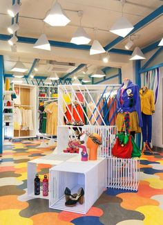 Colorful clothing store with geometric lighting