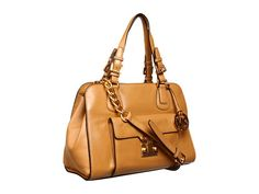 MICHAEL Michael Kors Gosford Large Satchel Tan Leather - Zappos.com