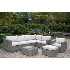 Oakland Living Corporation Kalapana Resin Wicker 8 Pc Deep Seat Set with Cushioned Sectional, Chair, Ottoman, Coffee Table and Pillows , Patio Furniture