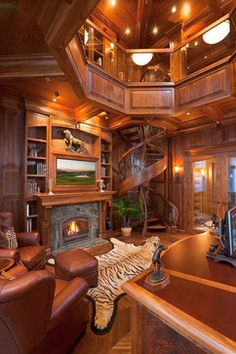 Traditional Home Design, Pictures, Remodel, Decor and Ideas - page 41  This would be an amazing library with the whimsical spiral staircase and beautiful wood paneling.