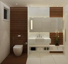 Fotos de banheiros Planejados com detalhes em madeira e cerâmica branca