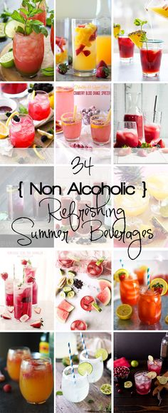 34 Non Alcoholic Refreshing Summer Beverages to keep your taste buds quenched and guessing all summer long! @thehitfiles