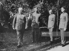 President of the German Reich Paul von Hindenburg (1847 - 1934) watching German military manoeuvres at Bad Mergentheim, Germany, with his son and aide-de-camp Oskar (1883 - 1960), a Major in the German Reichswehr, circa 1930.