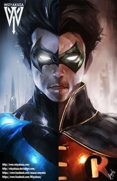 Nightwing/Robin by Wizyakuza Marvel Dc Comics, Dc Comics Art, Marvel Vs, Anime Comics, Nightwing, Batman Art, Batman Robin, Robin Superhero, Batman Universe