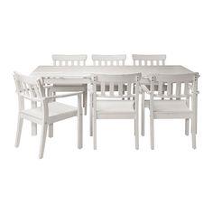 IKEA - ÄNGSÖ, Mesa+6sill reposabr ext, tinte blanco, , Protege tus muebles del desgaste barnizándolos de forma regular; por ejemplo, una vez al año.