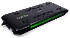 Plugable 12 AC Outlet Surge Protector - 25 foot power cord with Built-In 10.5W 2-Port USB Charger for Android, Apple iOS, and Windows Mobile Devices (Black)