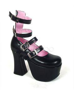Chaussures de lolita noir à talons épais