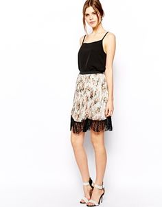 ASOS Pleated Midi Skirt In Floral Print With Lace Hem