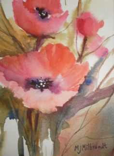 poppies by mj milbrandt watercolor floral