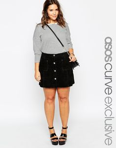 ASOS CURVE A-Line Skirt in Suede