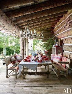 Wonderful Rustic Porch Arrangements For Home Want To See More? Visit Us For More Rustic Porch Designs Wonderful Rustic Porch Arrangements For Home Want To See More? Visit Us For More Rustic Porch Designs Architectural Digest, Colorado Ranch, Montana Ranch, Wrought Iron Chairs, New York Homes, Outdoor Living, Outdoor Decor, Outdoor Spaces, Rustic Outdoor