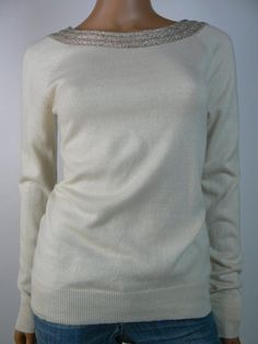 $149 Ralph Lauren Cream Gold Cashmere Silk Boat Neck Sweater