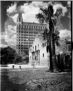 Ca. 1930 - Beautiful photo of the front of the Alamo with the Medical Arts Building (now Emily Morgan Hotel) in the background.