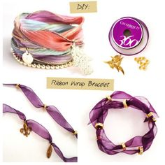 Jewelry DIY: Ribbon Wrap Bracelet Tutorial.  This is a super simple wrap bracelet! All you need is about 3 feet of ribbon and a few charms. The length of the ribbon is flexible, it just depends on how many times you want to wrap your bracelet around your wrist. 3 feet of ribbon will usually wrap around your wrist 4-5 times.  See Tutorial.