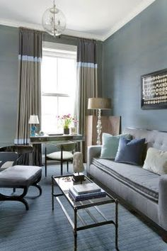 Gorgeous custom banded drapes/ Blues and grays